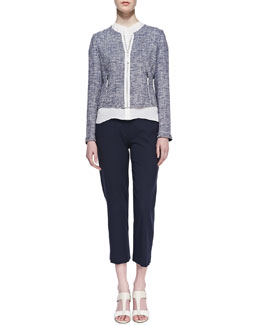 Elie Tahari Pearson Reversible Knit Jacket, Anetta Georgette Silk Blouse & Sloane Cropped-Ankle Pants