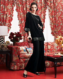 Joan Vass Sequin-Trimmed Tunic & Wide-Leg Pants