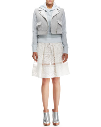 Honeycomb-Pattern Cropped Vest, Perforated Hooded Pullover & Pleated Lace ...