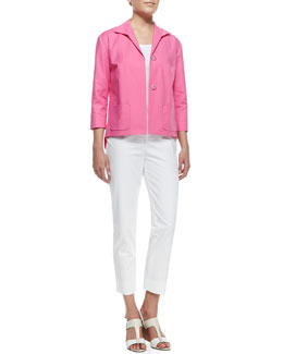 Lafayette 148 New York Reina Snap-Front Topper Jacket & Metro Stretch Cropped Bleecker Pants