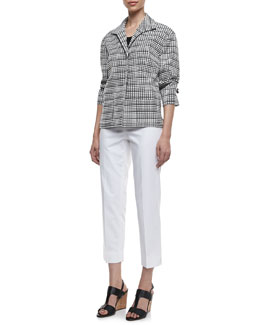 Lafayette 148 New York Reina Grid-Print Topper, Scoop-Neck Tank & Metro Stretch Cropped Bleecker Pants