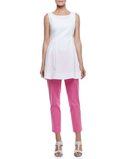 Lafayette 148 New York Julienne Pleated Poplin Sleeveless Top & Cropped Bleecker Pants