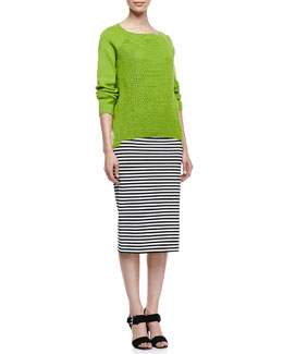 Lafayette 148 New York Open Weave Long-Raglan-Sleeve Sweater & Long Striped Pencil Skirt