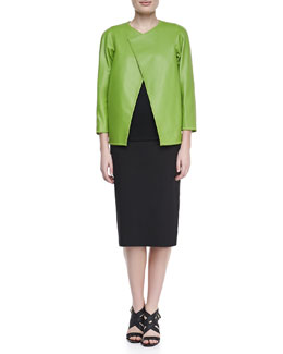 Lafayette 148 New York Venus Lambskin Topper, Linen Scoop-Neck Shell &  Over-the-Knee Pencil Skirt