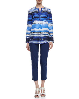 Lafayette 148 New York Samantha Long Sleeve Watercolor Top & Stanton Cropped Pants