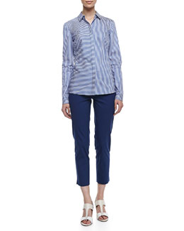 Lafayette 148 New York Olina Long Sleeve Striped Blouse & Stanton Cropped Pants