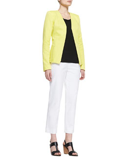 Lafayette 148 New York Lana Open-Front Jacket, Linen Scoop-Neck Shell & Metro Stretch Cropped Bleecker Pants