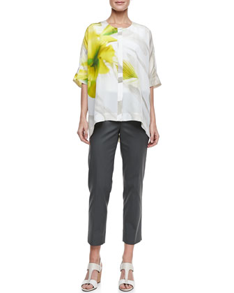 Jordana Printed Silk Blouse & Metro Stretch Cropped Bleecker Pants