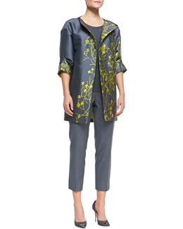 Lafayette 148 New York Morgan 3/4-Sleeve Floral Topper, Shell Linen Tank & Metro Stretch Cropped Bleecker Pants