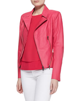 Elie Tahari Emalia Lambskin Leather Jacket & Leila Silk Layered Blouse