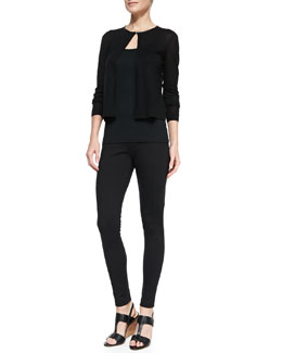 T Tahari Ellis Printed-Chiffon and Knit Sweater & Giada Tapered Leg Pants