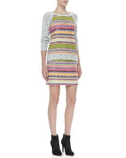 Milly Couture Raffia Sweatshirt & Mini Pencil Skirt