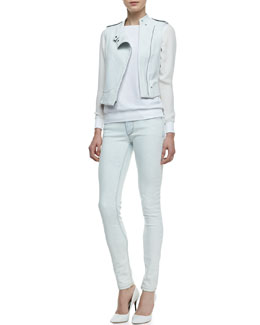 Theory Tatia Cropped Lambskin Vest, Canaan Mixed-Fabric Sweater & Billy N Light-Wash Skinny Jeans