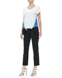 Derek Lam Cap-Sleeve Handkerchief-Hem Blouse & Cropped Trousers