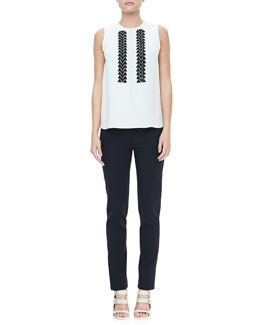 Derek Lam Sleeveless Embroidered Blouse & Classic Leggings