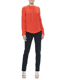 Derek Lam Button-Placket Blouse & Classic Leggings