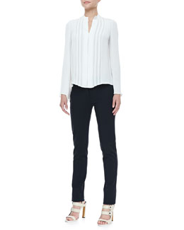 Derek Lam Georgette-Panel Silk Blouse & Classic Leggings