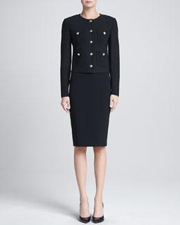 St. John Collection Marocain-Pocketed Boucle Jacket & Crepe Marocain Skirt