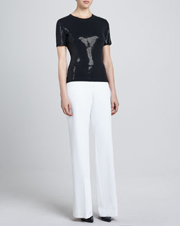 St. John Collection Sequin Top & Diana Stretch Wide-Leg Pants