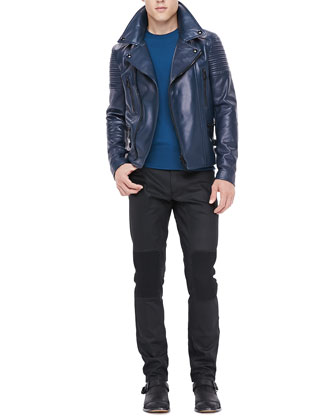 Leather Biker Jacket, Crewneck Sweater with Ribbed Detail & Resin-Coated ...