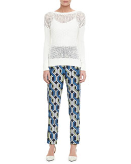 Trina Turk Denver Perforated Knit Sweater & Mariane Printed Silk Pants