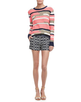 Trina Turk Disah Striped Knit Sweater & Santiago Printed Denim Shorts