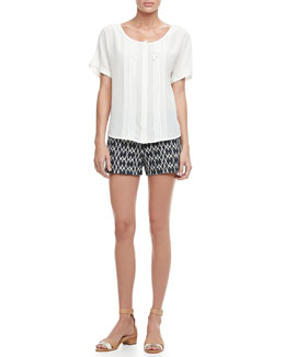 Trina Turk Helma Short-Sleeve Silk Blouse & Santiago Printed Denim Shorts