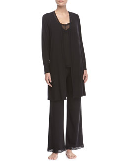 Eberjey Gisele Long-Sleeve Robe, Sleeveless Lace-Trimmed Cami & Lace-Trimmed PJ Pants