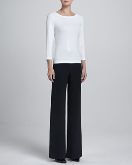 St. John Collection Three-Quarter Sparkle Tee & Diana Wide-Leg Pants