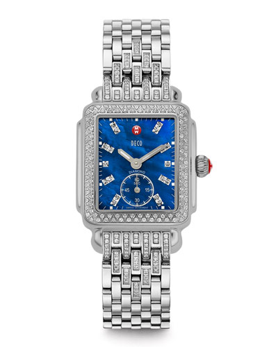 MICHELE Deco 126-Diamond Chronograph Watch Head & 16mm Tapered-Diamond Watch Bracelet