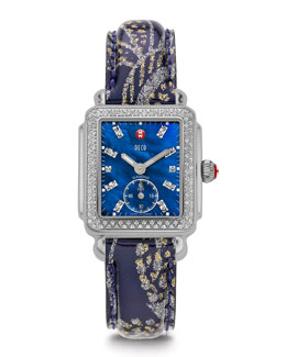 MICHELE Deco 126-Diamond Chronograph Watch Head & 16mm Paisley Patent Watch Strap