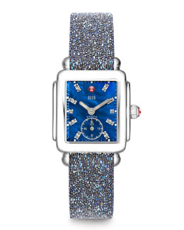 MICHELE Deco 18-Diamond Chronograph Watch Head & 16mm Crystal-Covered Leather Strap
