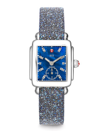 Deco 18-Diamond Chronograph Watch Head & 16mm Crystal-Covered Leather Strap