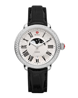 MICHELE Serein Moon Phase Diamond Watch Head & Alligator Strap