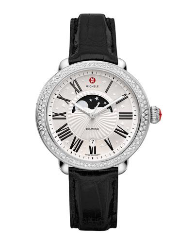 MICHELE Serein Moon Phase Diamond Watch Head & Alligator Strap