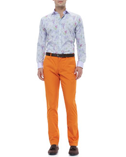 Etro Micro-Check Bird-Print Jacquard Shirt & Cotton-Twill Pants