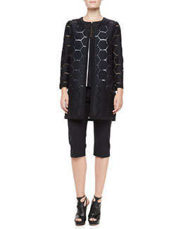 Milly Geometric Cocktail Coat, Mesh Flyaway Top & Super Cropped Trousers