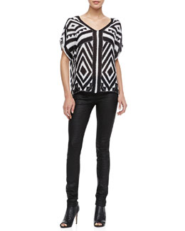 Milly Printed Flowy Silk Blouse & Python-Embossed Leather Leggings