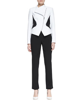 T Tahari Oriana Two-Tone Jacket & Natalie Straight-Leg Twill Pants