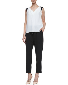 T Tahari Caleb Sleeveless V-Neck Blouse & Loren Drawstring Pants