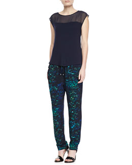 T Tahari Aaralyn Illusion-Neckline Top & Loren Printed Jersey Drawstring Pants