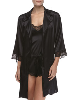 Else Lingerie Giverny Boyfriend Silk Half-Sleeve Robe & Silk Lace-Trimmed Romper