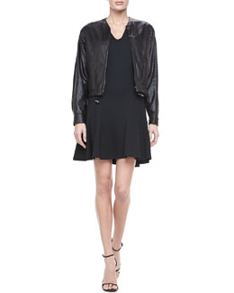 10 Crosby Derek Lam Perforated Leather Zip Jacket & Flare-Skirt Ponte Dress