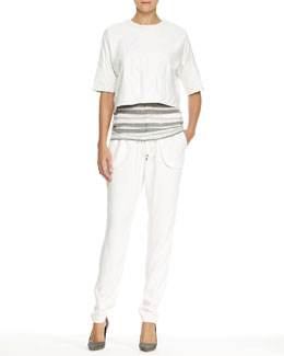 10 Crosby Derek Lam Cropped Zip Leather Sweatshirt and Striped Scoop-Neck Tank