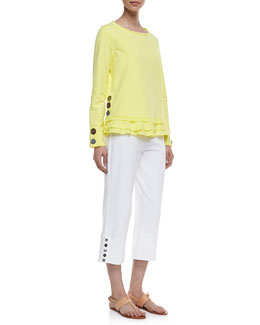 Neon Buddha Cape Side Ruffled-Hem Pullover & Seascape Button-Cuff Capri Pants
