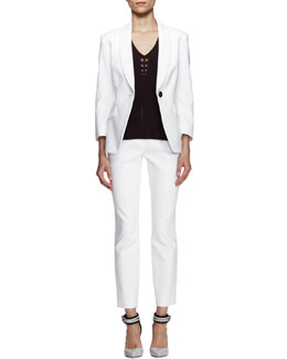Escada Bracelet-Sleeve Jacket & Straight Ankle Pants