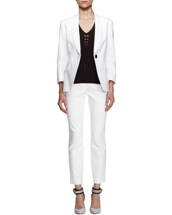 Bracelet-Sleeve Jacket & Straight Ankle Pants