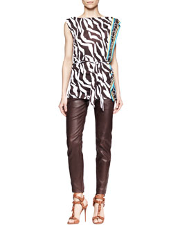 Escada Zebra-Print Jersey Sleeveless Top & Leather Stretch Zip-Front Pants