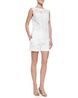Escada Scalloped Floral Lace Tunic Top and Floral Lace Midi Shorts