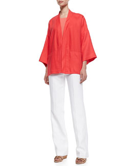 Lafayette 148 New York Cherise Linen 3/4-Sleeve Topper, Short-Sleeve Dip-Dye Tee & Linen Menswear Pants